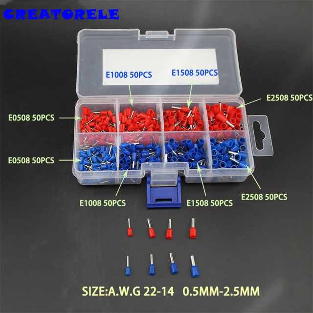 400pcs Copper Crimp Comector Insulated Cord Pin End Terminal Ferrules kit set Wire Terminals Comector