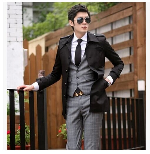 Black blue 2017 spring autumn jacket business casual slim long coat men trench coat for men clothing thin plus size outerwear