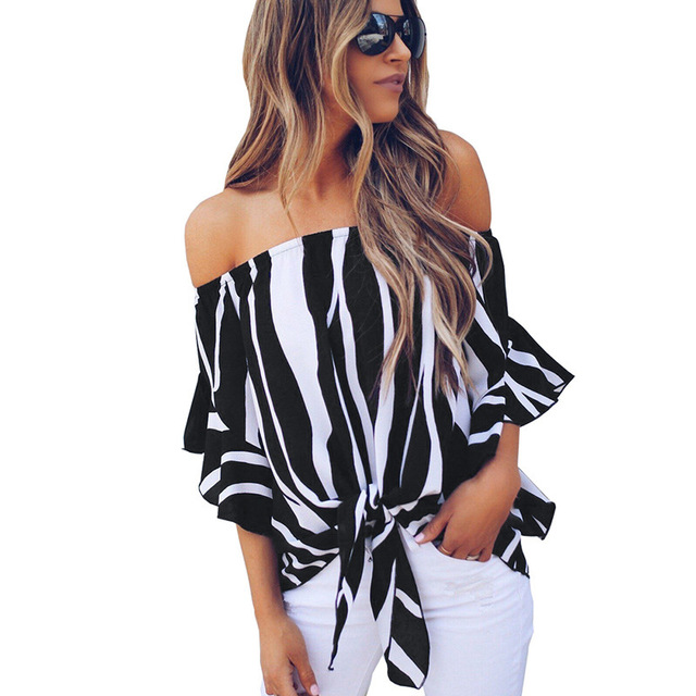 New Summer Off the Shoulder Sexy Striped Blouse Shirts For Women Ruffles SLeeve Elegant Loose Blouses Shirt Blusas Tops Femme 26