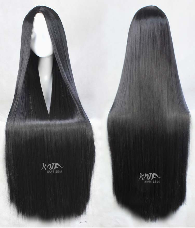 new brand and 100cm 340g Synthetic Hair Long straight black Cosplay Wig