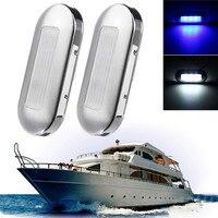 2 stks Rvs DC12V Schip Lichten 0.5 W LED Marine Boot Jacht Anker Stern Lichtblauw/Wit Waterdicht IP67