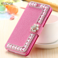 KISSCASE Bling Pearl Leather Flip Case For iPhone 5S SE 6 6S 7 Plus Glitter Rhinestone Flower Cover For Samsung S7 S6 Edge Plus