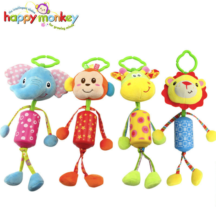 Musical BB Device Squeaker Rail Crib Baby Calm Rattles Mobiles Bed Bell Stroller Pendant Aeolian Bells Plush Hanging Soft Toy