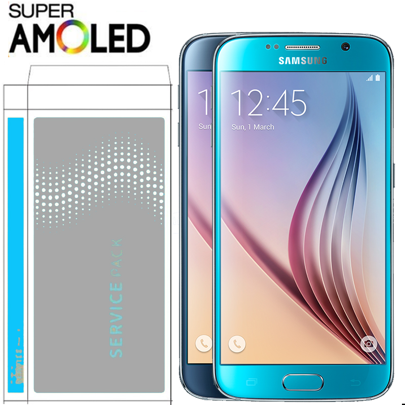 ORIGINAL with Burn Shadow LCD with frame for SAMSUNG Galaxy S6 G920 G920F Display Touch Screen