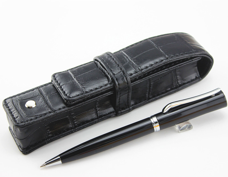 new style luxury silver metal Black silver clip ballpoint pen stationery school
