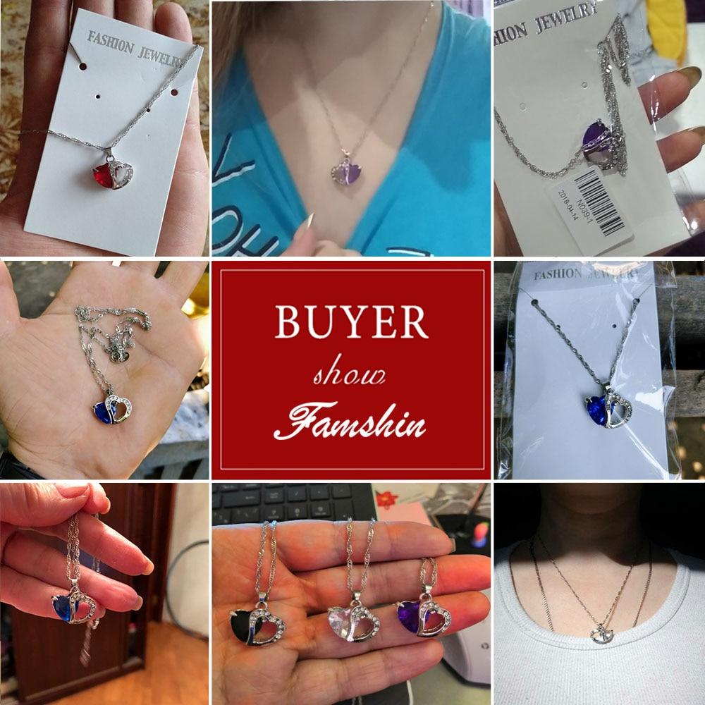 FAMSHIN 2018 Лидер продаж 6 цветов высшего класса леди модная подвеска в виде сердца цепочки и ожерелья ювелирные изделия из кристаллов новый обувь для девоче