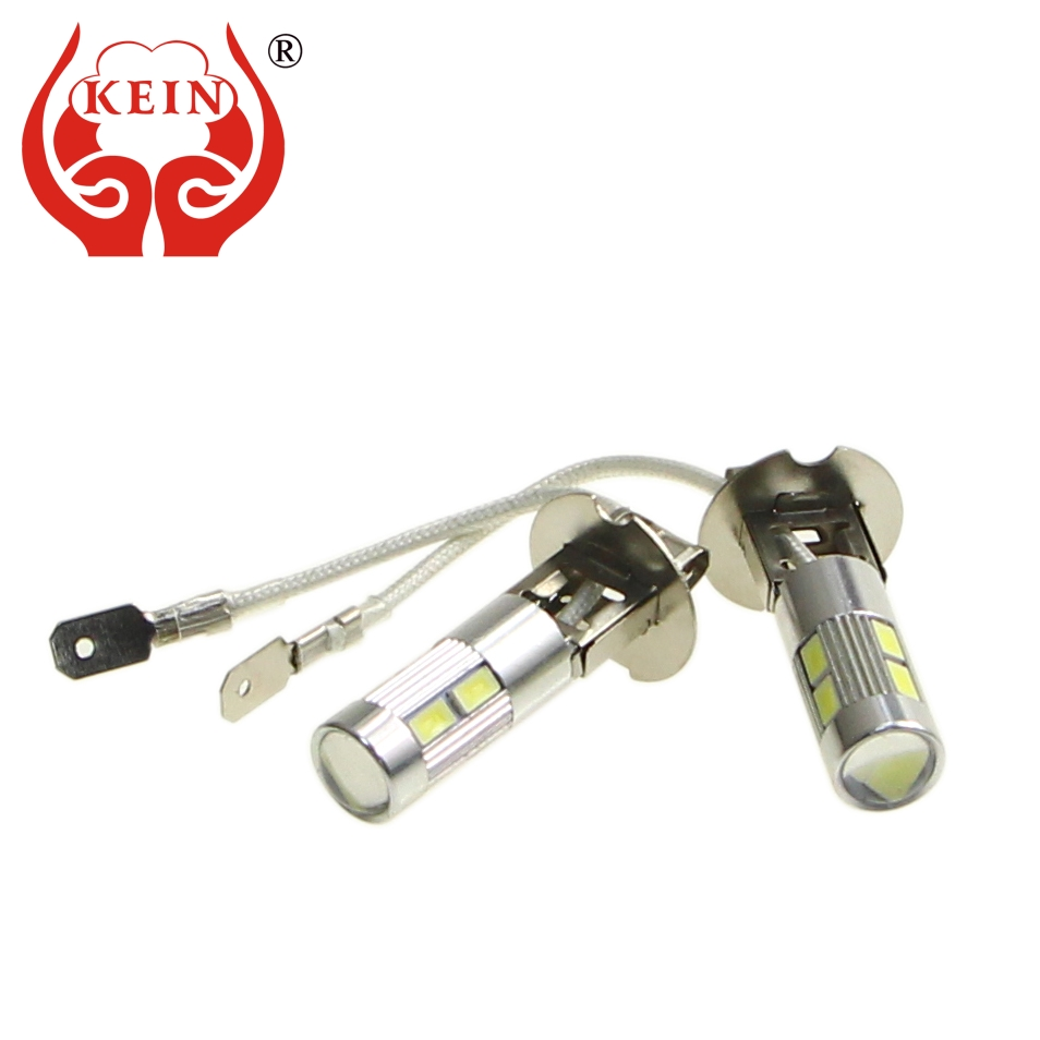 KEIN 2pcs H3 led Lamp DRL fog Bulb 10SMD 5630 5730 car Lights Daytime Running H3 Bulb Day Driving auto Vehicle External lights h3 vehicle 4300k yellow led 2pcs fog driving drl light 100w lamp bulbs projector lamps car accessories high power