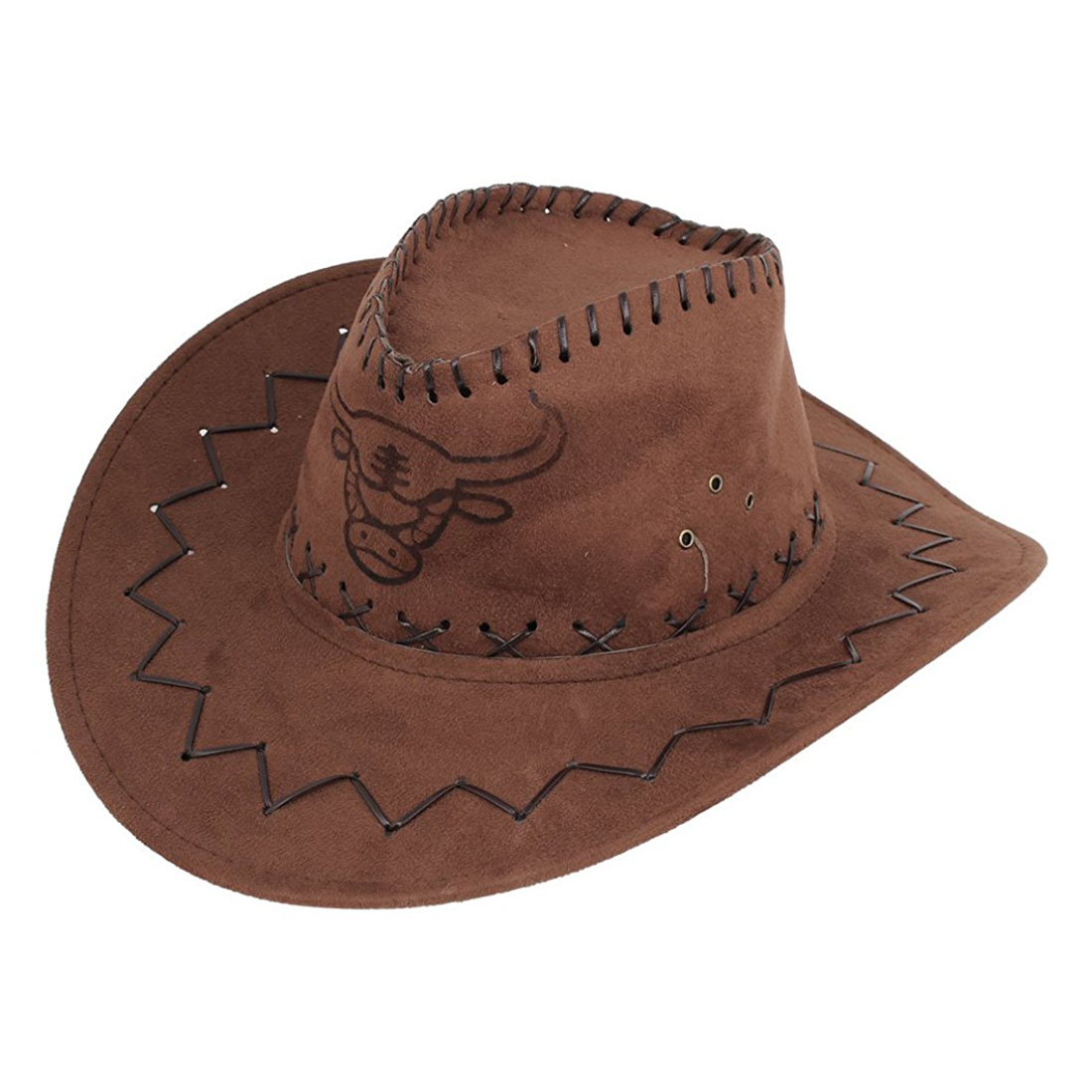 Men Flannel Strap Winding Cow Head Pattern Faux Suede Cowboy Hat Brown