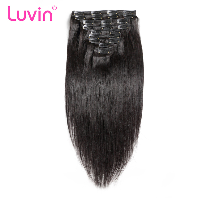 Luvin Clip In Human Hair Extensions Natural Color 10 Piecesset 100