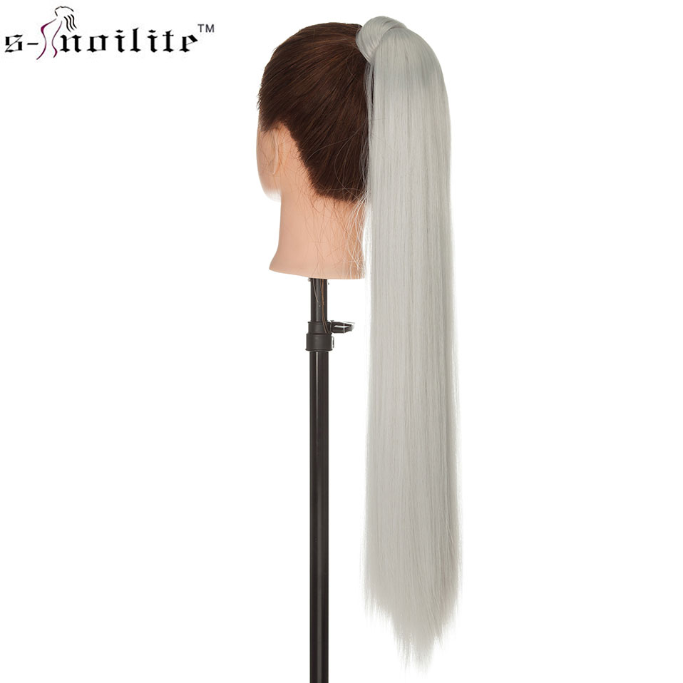 SNOILITE Long Straight Ponytail Hair Extension Clip In Ponytail Synthetic Wrap Around Tail Hair Hairpiece For Women