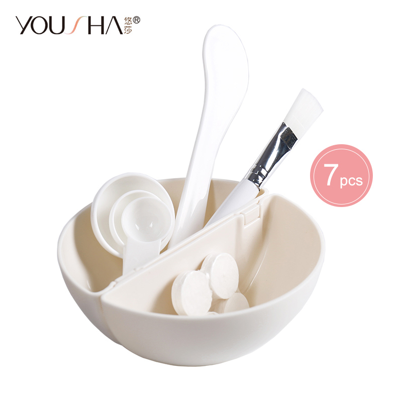 YOUSHA 7pcs Mask Bowl Face Beauty Cosmetic Bowl Makeup Tool With Compressed Mask Brush Mixed Stir Spatula Stick Measuring Spoon