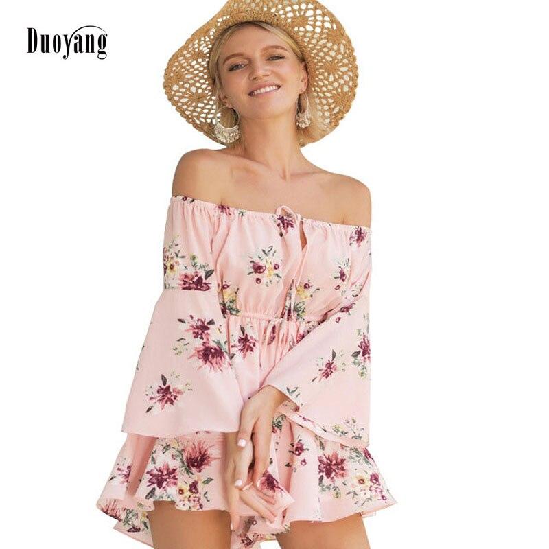 Plus Size Summer Dress 2018 Woman Sexy Off Shoulder Dress Laides Lace-up Print Floral Dresswomen Beach Dresses ...