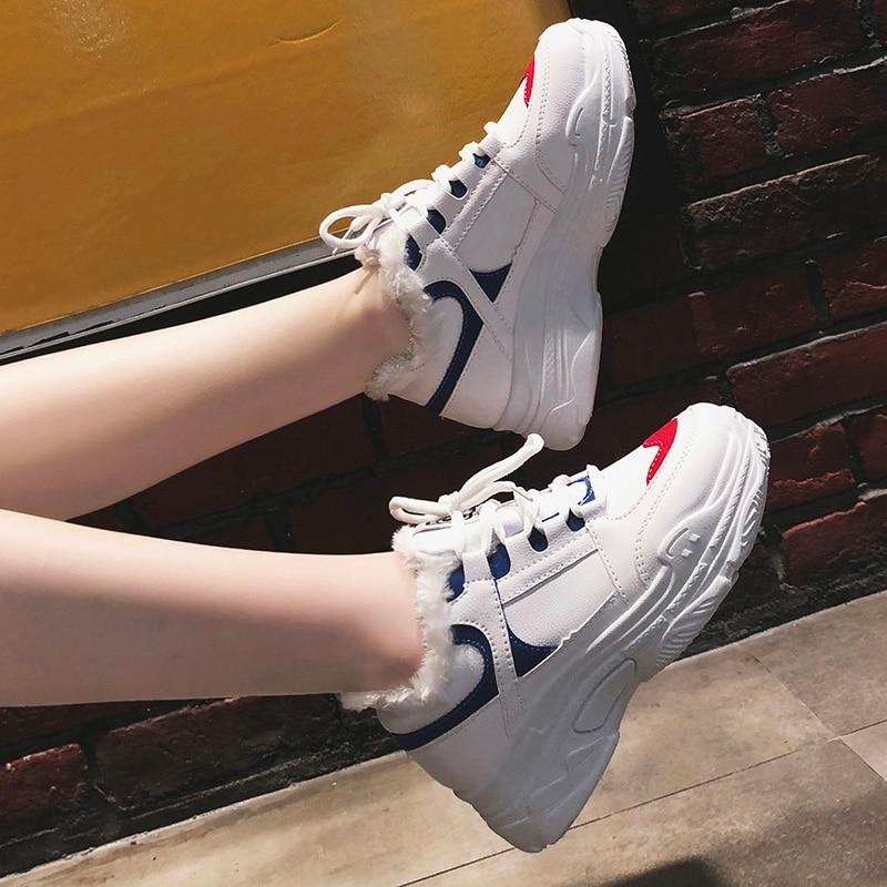 Negro Mujer Fondo Piel 2018 Casual Plataforma Aumento Invierno azul Caliente Zapatos Grueso Nieve Del Zapatillas De Blanco rojo Altura SqRSa