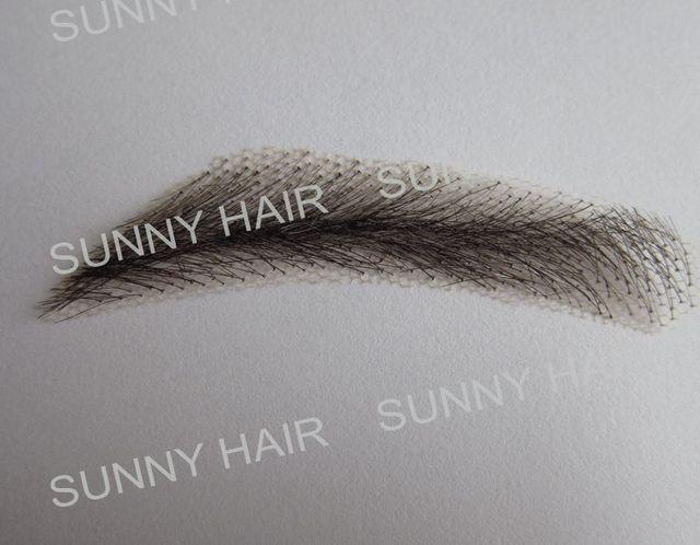 hand made human hair man false eyebrow 019A black color hand knot fake eyebrow 3