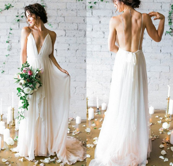 Beach <font><b>Boho</b></font> <font><b>Wedding</b></font> <font><b>Dress</b></font> <font><b>2019</b></font> Simple <font><b>Sexy</b></font> <font><b>Backless</b></font> Spaghetti Straps Deep V Neck A Line Chiffon vestido de novia robe de mariee image