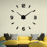 Fashion DIY Large 3D Number Mirror Wall Sticker Big Watch Home Decor Art Clock Decorative Sticker