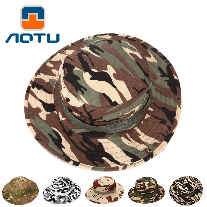 NEW 2019 Outdoor UV protection caps sunscreen camouflage caps jungle army men and women field Fishing Bucket Hats Wholesale in Men 39 s Bucket Hats from Apparel Accessories