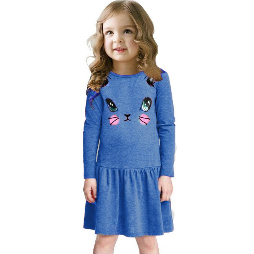 Girls Dresses Long Sleeve Children Dress Kitty Print Baby Girls Clothes Outerwear Girl Jumpers Blouses Sweatshirts Top