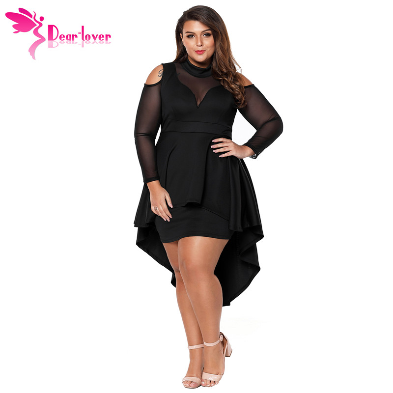 Dear Lover Long Sleeve Dress Autumn Big Ladies Party Robe Black Plus
