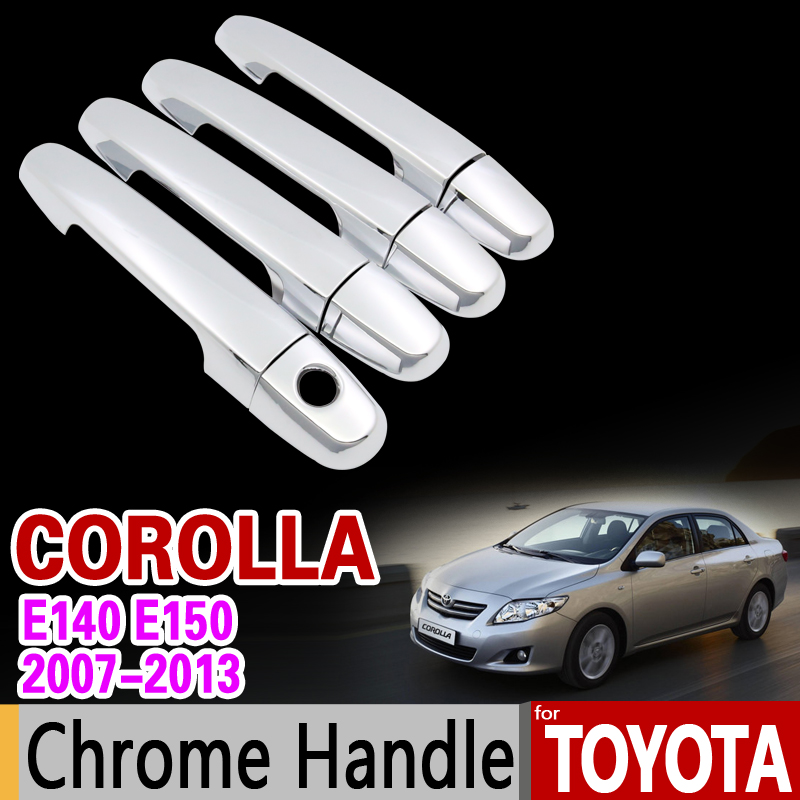 for Toyota Corolla E140 E150 2007 - 2013 Chrome Handle Cover Trim Set 2008 2009 2010 2011 2012 Accessories Stickers Car Styling car auto accessories rear trunk trim tail door trim for subaru xv 2009 2010 2011 2012 2013 2014 abs chrome 1pc per set
