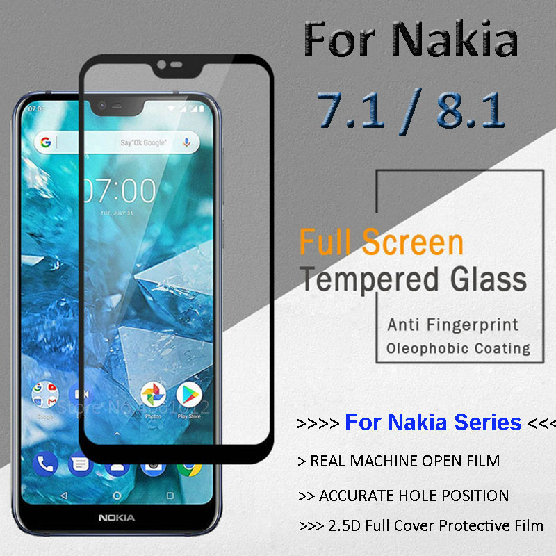 For <font><b>Nokia</b></font> 8.1 Screen Protector Full Cover Tempered Glass for <font><b>Nokia</b></font> <font><b>7.1</b></font> Protective Glas Film Protection Glass on Nokia8.1 2018 image