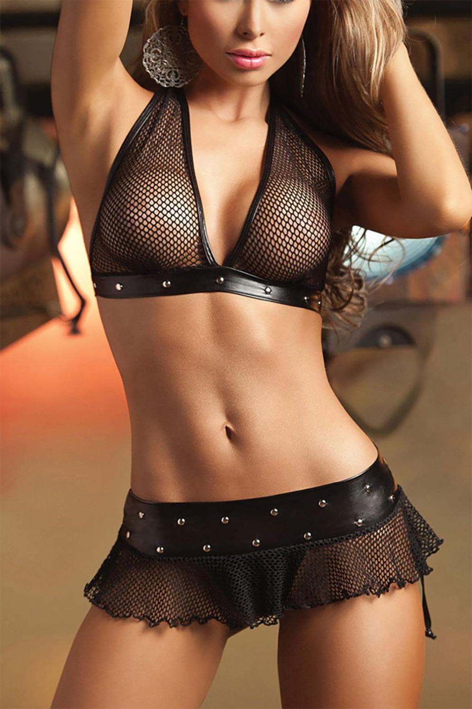 Girl in short skirt and bra stock image