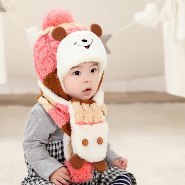 Chapéu do bebê Outono Inverno Chapéu Gorro De Lã com Bola de Aquecimento De  Pelúcia 99a8178fc97