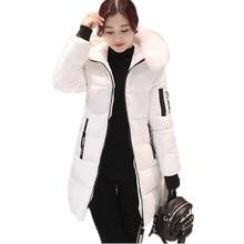 新しい女性スリムパーカー2017新しい冬の長袖フード付きフェイクファーの襟厚い手紙印刷媒体-ロングジャケットファムcasaco