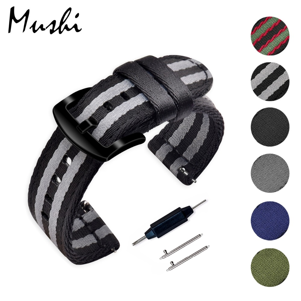 Mushi Watchband James Bond 007 18mm 20mm 22mm 24mm Nato Strap Watch Band Men Silver Pin Buckle Canvas Watch Strap With Tools