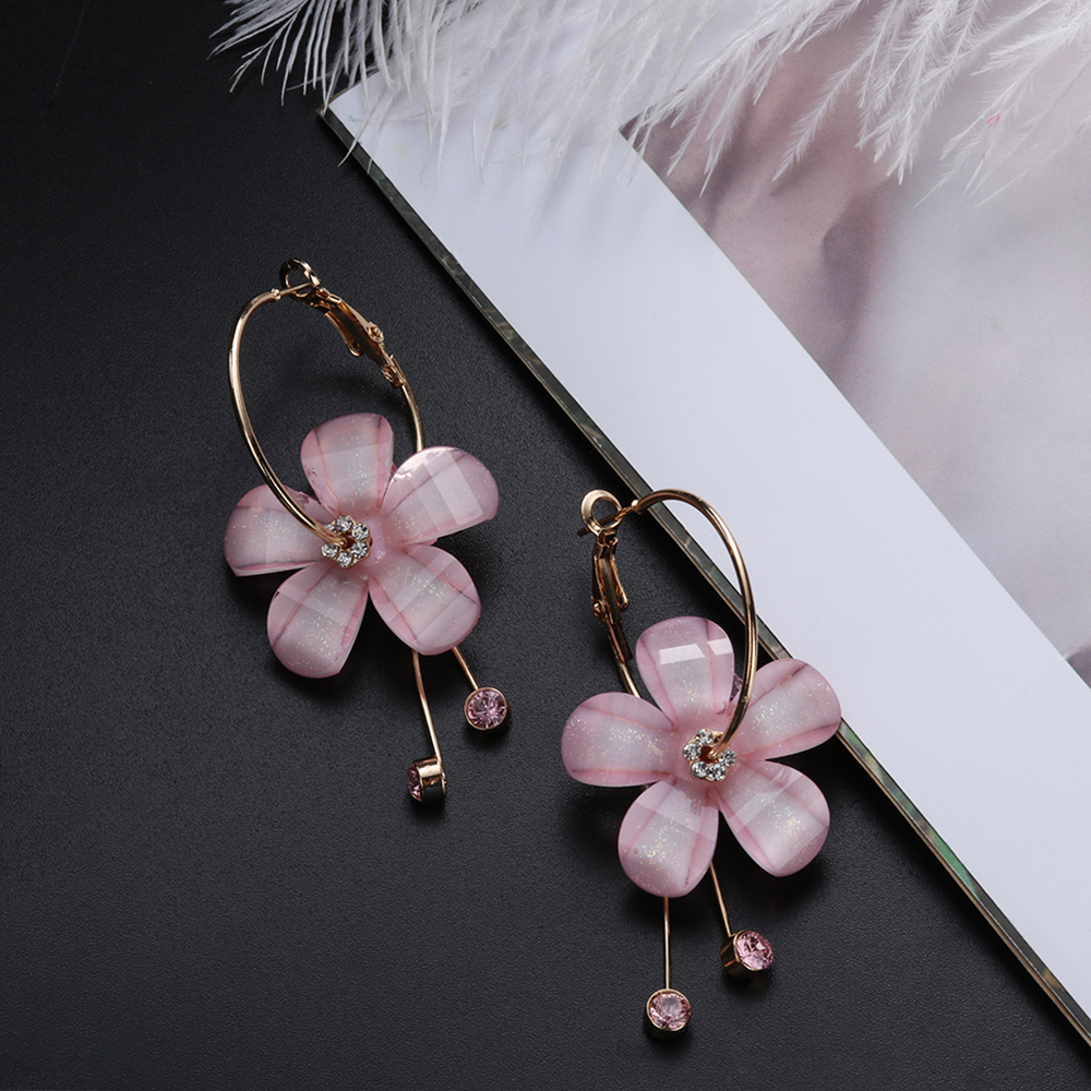 Fashion Crystal Rhinestone White Pink Small Hoop Acrylic Flower 5