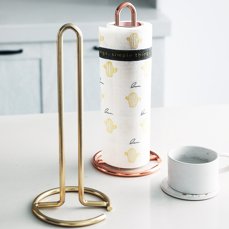 Stainless Steel Kitchen Roll Paper Towel Holder Bathroom Tissue Stand Rose Gold Napkins Rack Home Kitchen Storage Accessories