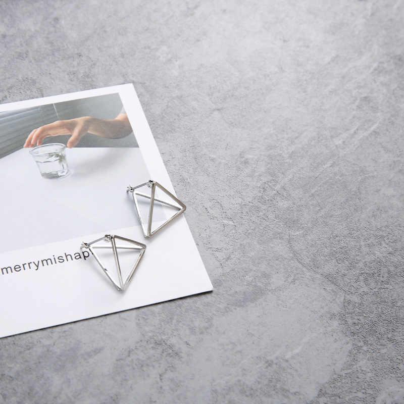 Европа и Америка минималистский панк Комплект сережек для женщин геометрический 3D Треугольники полые многогранные Серьги Brincos вечерние изделия JH