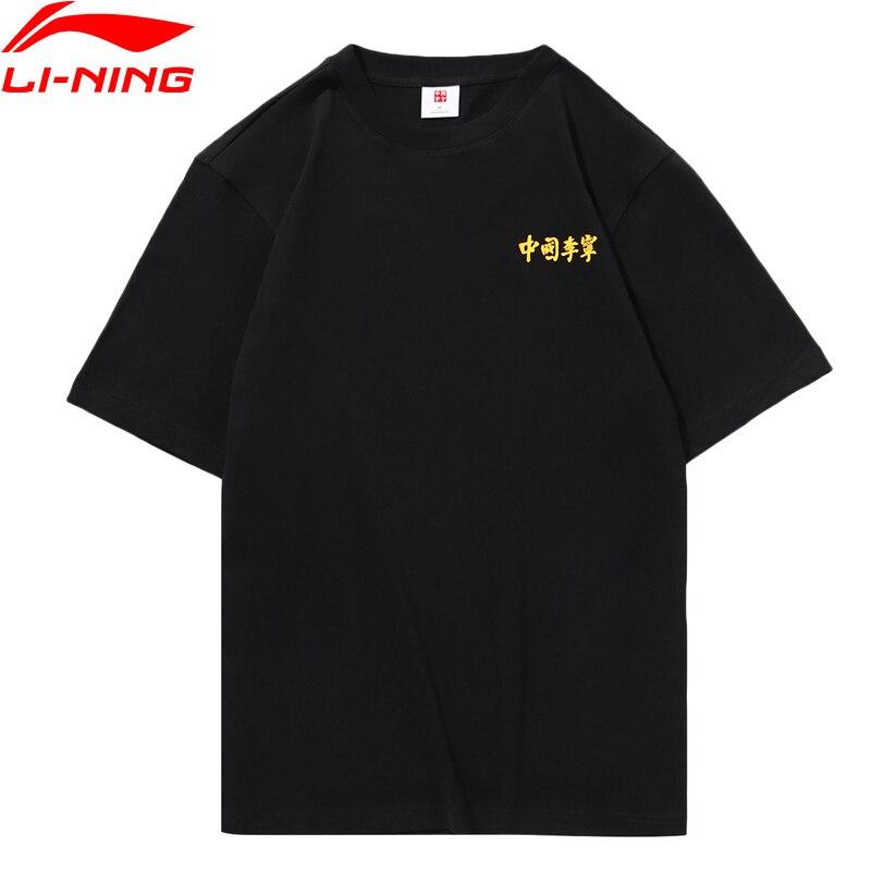 Li-ning FW hommes Sport vie chine li-ning T-Shirt 100% coton coupe régulière Sport Tee hauts AHSP617 MTS3059