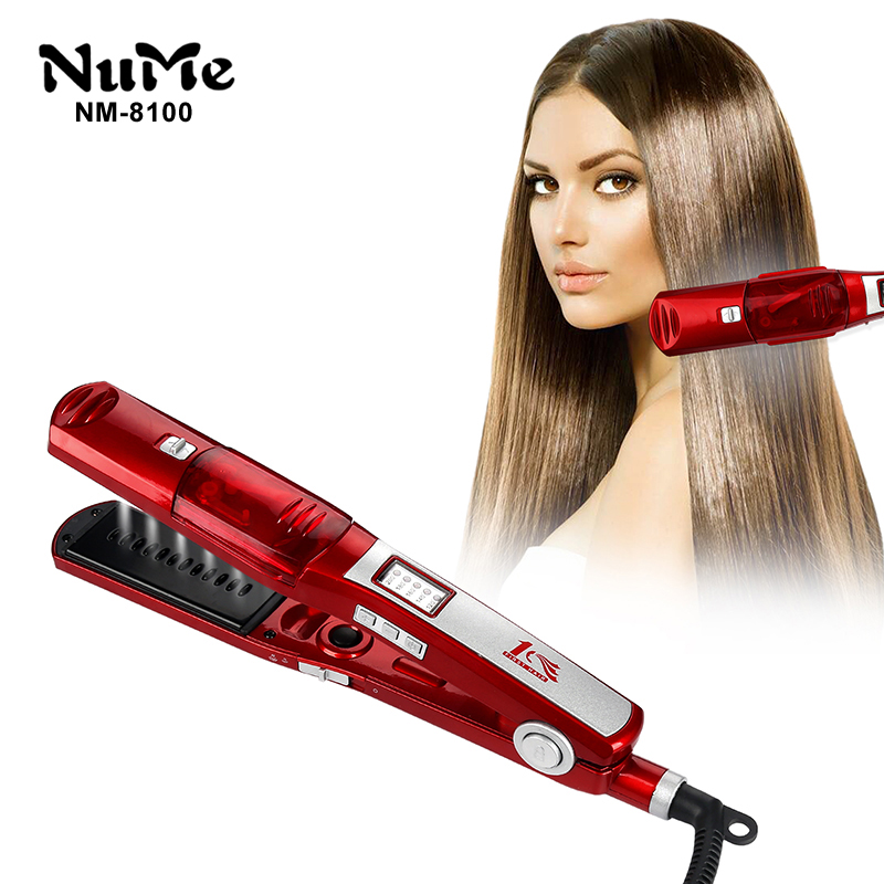 Professional Ions Steam Hair Straightener Infrared Flat Iron Ceramic Hair Comb LCD Display Styling Tool Straightening Hair Iron 2017 new hot sale professional salon ptc heating white color ceramic negative ions steam automatic hair curler hair style tools