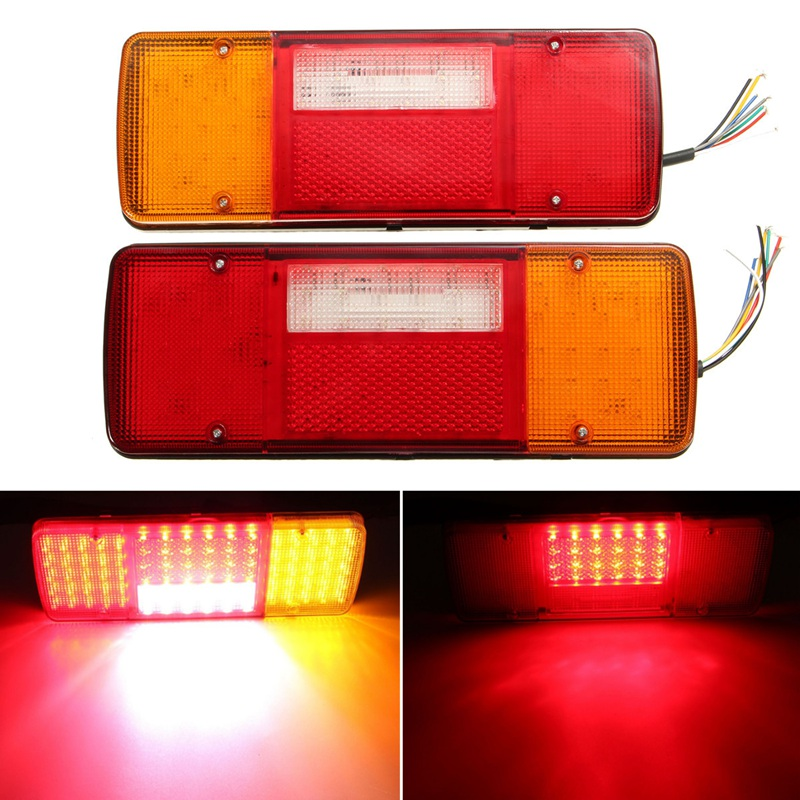 ФОТО  1 Pair Car Styling Led Trailer Tail Lights LED Rear Turn Signal Truck Trailer Lorry Stop Rear Tail Indicator Light Lamp 12V