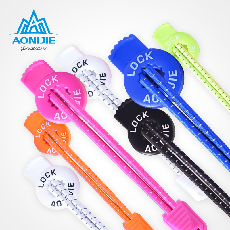 AONIJIE 120cm Sports Reflective Shoelaces Running Hiking Visible Safty Lock Laces Round Elastic Shoestrings With Buckle