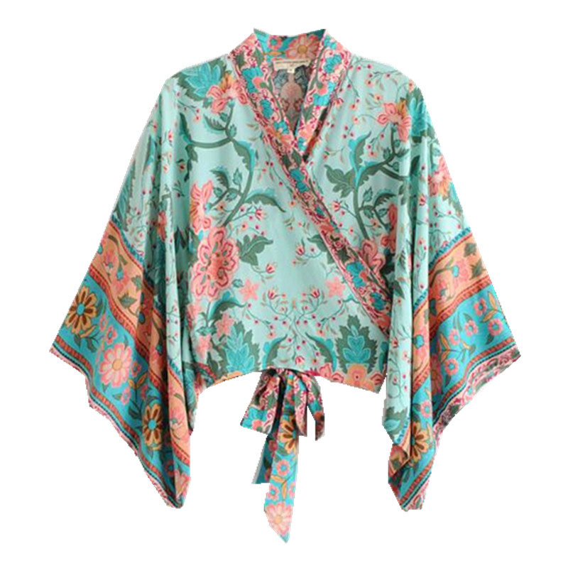 Bohemian Flower Print Kimono Bow Tie Peacock Shirt Vintage Woman Batwing Sleeve Cross V-Neck Cardigan Loose Blouse Femme Blusas