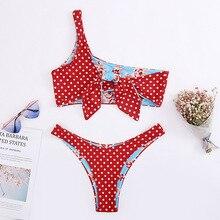 Roseheart Summer Red Sexy Bikini Sets Women Swimsuit Straps Swimwear Low Waist Bathing Suit Female Biquini Print Bow Dot