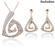 New 2014 Hot Selling Full Of Rhinestone Gold Silver Plated Pendant Necklace Stud Earring fashion Jewelry Sets For Women
