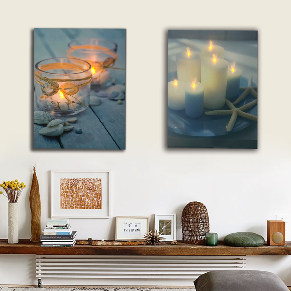 White Candles With Starfish Seashell Wall Picture Led