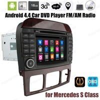 7 inch Android4.4 FM AM radio Car DVD For Mercedes S Class Support GPS BT 3G WiFi DTV DAB TPMS OBDII DVR stereo mp5