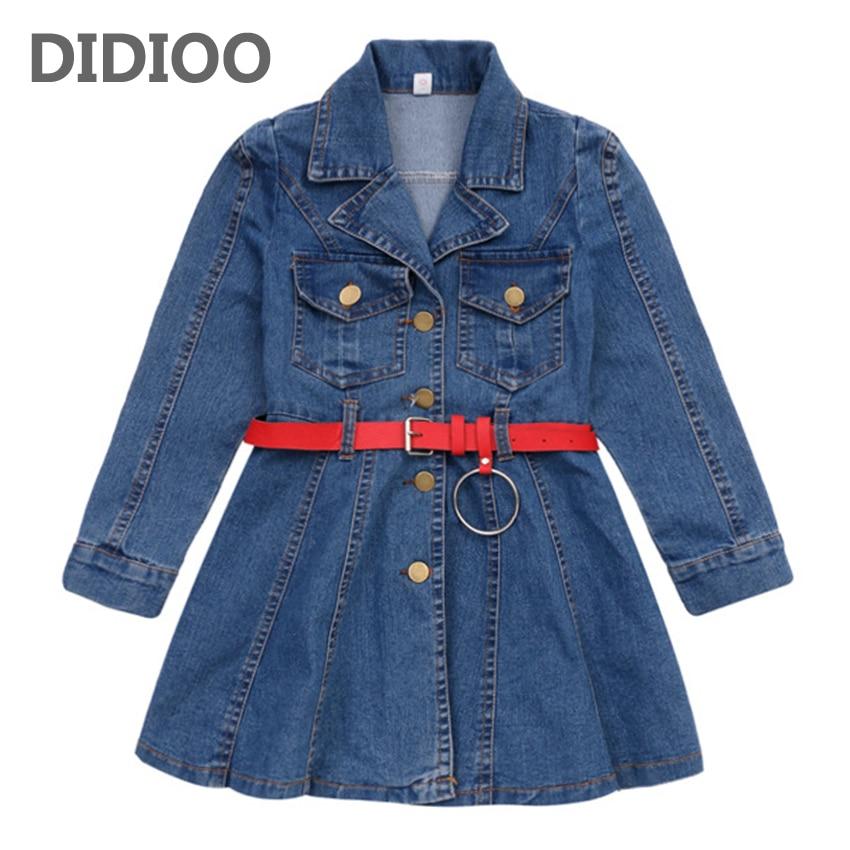 Girls Denim Dresses for Kids Long Sleeve Jeans Thicken Dresses Children Autumn Vestidos Infantil 4 8 9 10 12 Years Girls Dresses