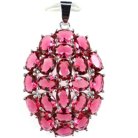 Luxury Big New Arrival Pink Raspberry Rhodolite Garnet Woman's 925 Silver Pendant 42x26mm