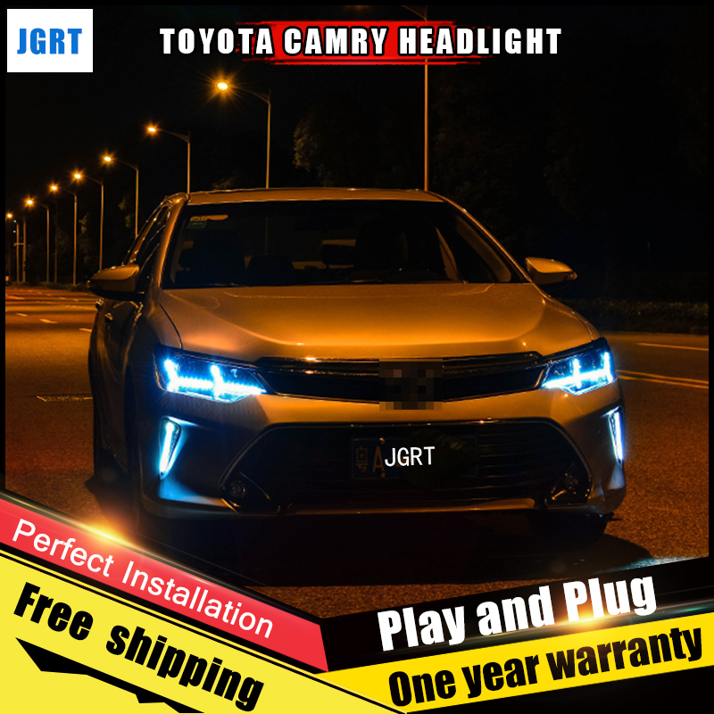 Car Style LED headlights for Toyota Camry 2014-2015 for Camry head lamp LED Lens Double Beam H7 HID Xenon bi xenon lens auto lighting style led head lamp for toyota yaris l led headlights 2014 2016 double u led hid kit bi xenon lens low beam
