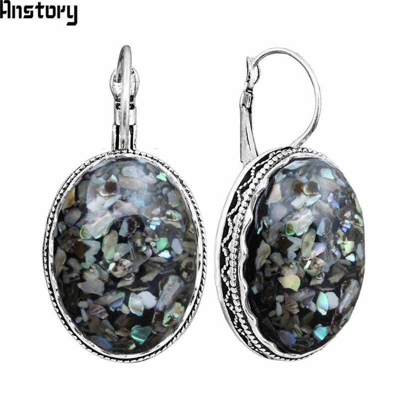 Big Oval Shell Earrings Vintage Antique Silver Plated Cuff Stone Flower Pendant Fashion Jewelry