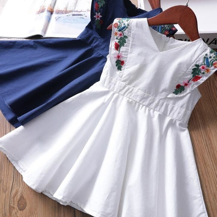 YW2077241 Fashion Baby Dess Summer Embroidery Kids Dresses For Girls Dress Sleeveless Girls Princess Dress Girls Clothes Party ...