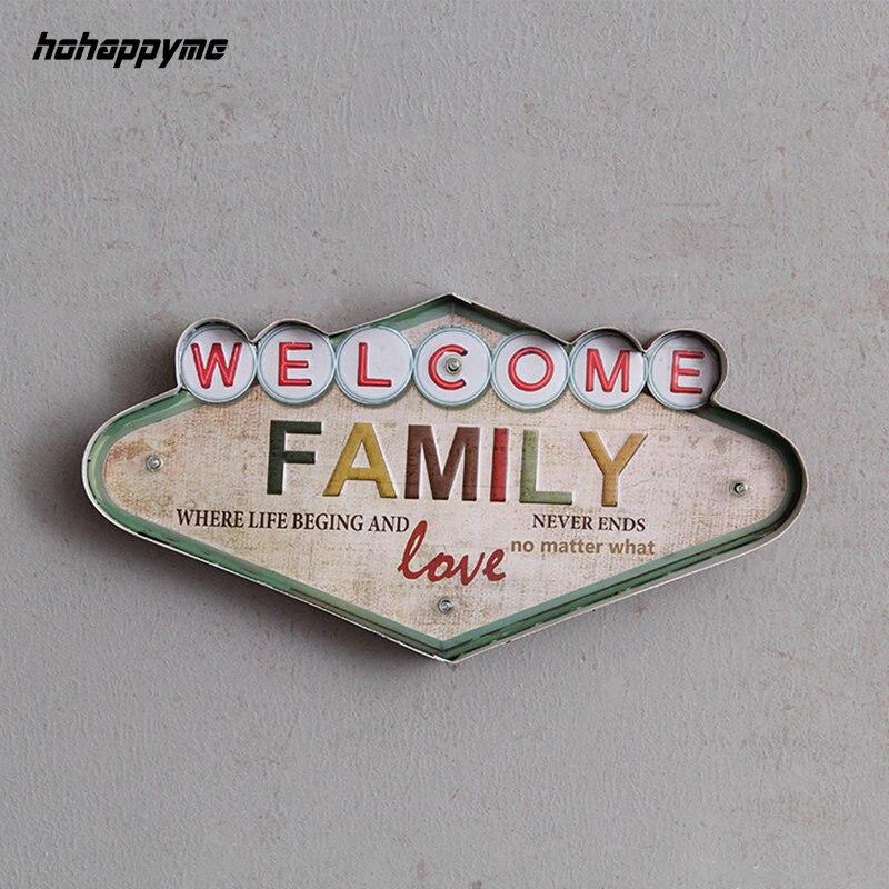 Bienvenue famille lumière signe décoratif peinture métal Plaque Bar mur décor peinture illuminé Plaque Arcade néon panneaux de LED