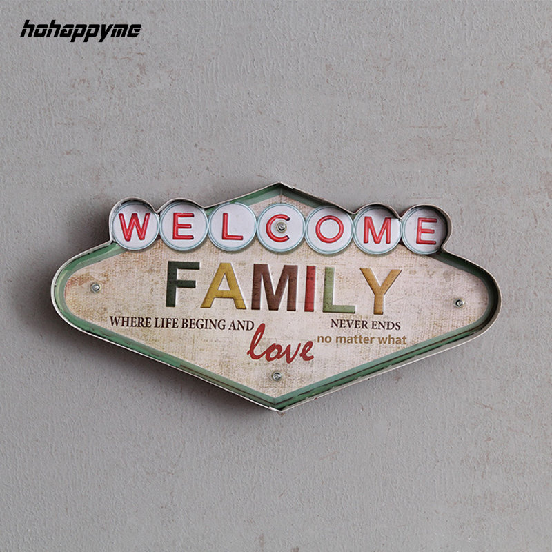 buy welcome family light sign decorative painting metal plaque bar wall decor. Black Bedroom Furniture Sets. Home Design Ideas