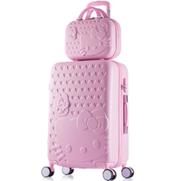 14 20 22 24 26 28inch abs+pc hardside case hello kitty pink travel luggage for girl,lovely fashion trolley luggage set for women