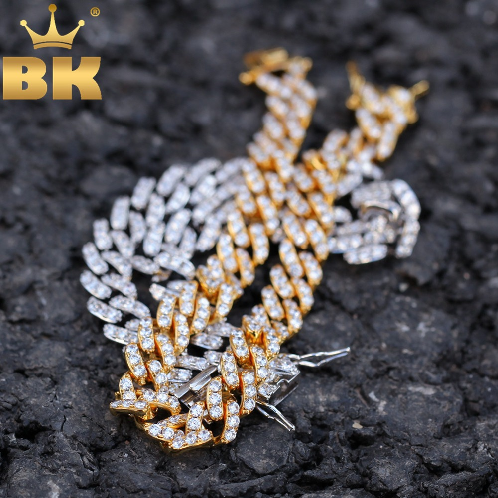 THE BLING KING 9 мм Micro Pave Iced CZ кубинские звенья ожерелья цепочки золотой цвет Роскошные Bling ювелирные изделия мода хип хоп для мужчин